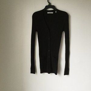 VINCE Ribbed Skinny Cashmere Cardigan In Black S